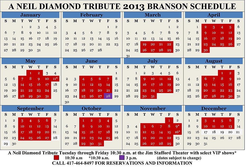 2013 A Neil Diamond Tribute Theatre Calendar