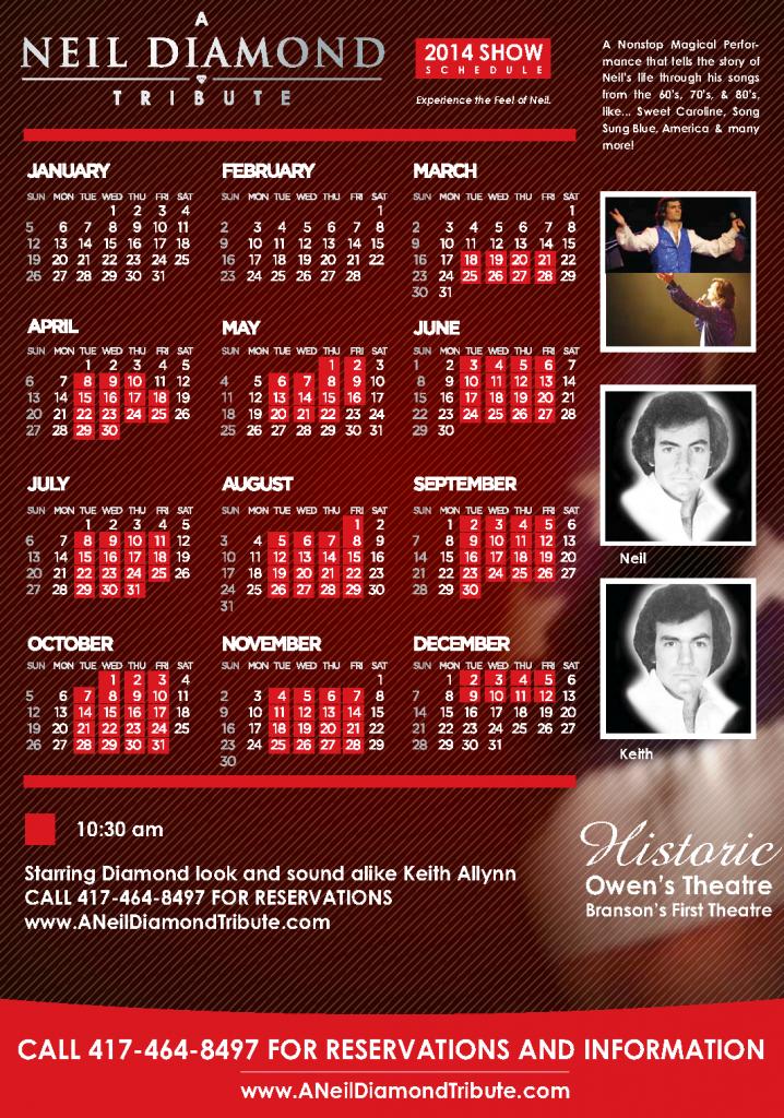 Neil Diamond Tribute Schedule 2014 Branson MO