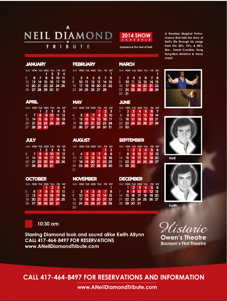 Neil Diamond Tribute Branson MO Schedule 2014